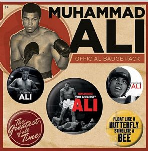 Muhammad Ali 5 round Pin Badges in Pack (py)